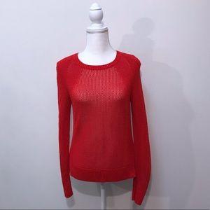 Athleta Red Crochet Open Knit Sweater Size Medium